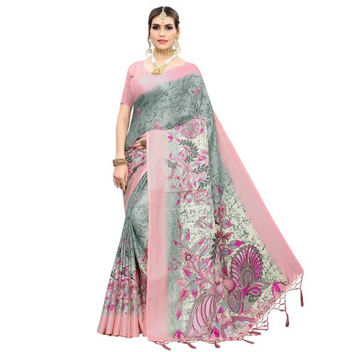 Blooming Grey-Pink Colored Casual Wear Printed Cotton Saree With Tassels
