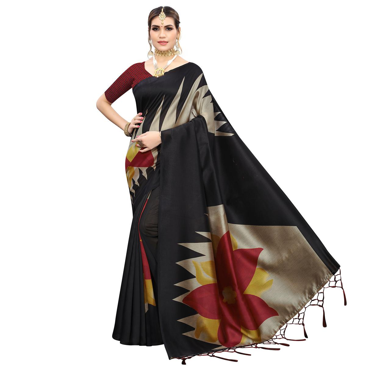 Delightful Black Colored Festive Wear Printed Art Silk Saree With Tassels