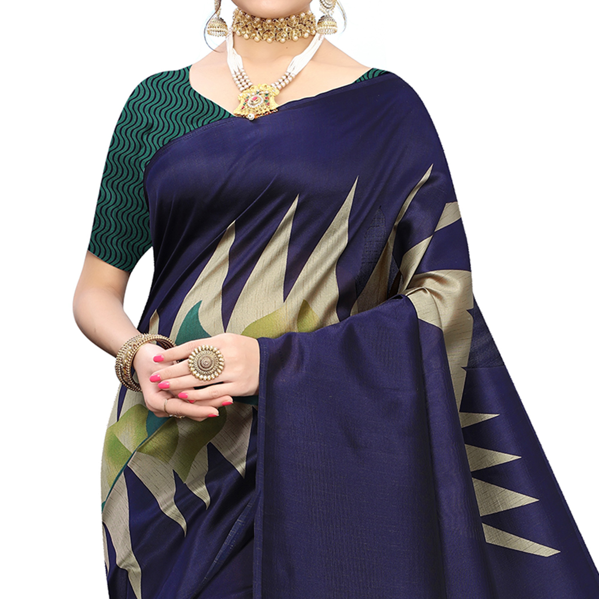 Intricate Navy Blue Colored Festive Wear Printed Art Silk Saree With Tassels