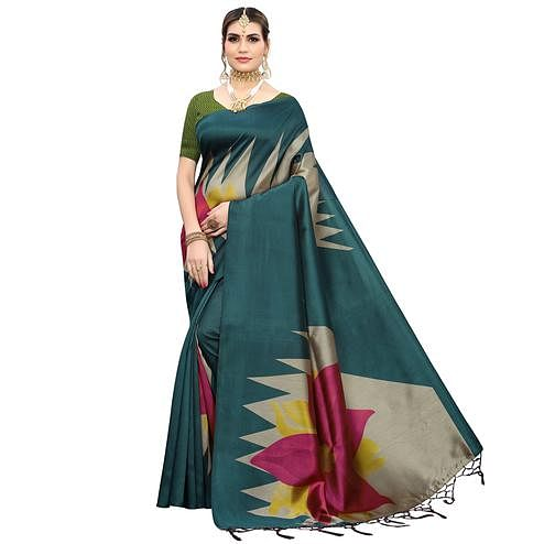Arresting Teal Green Colored Festive Wear Printed Art Silk Saree With Tassels