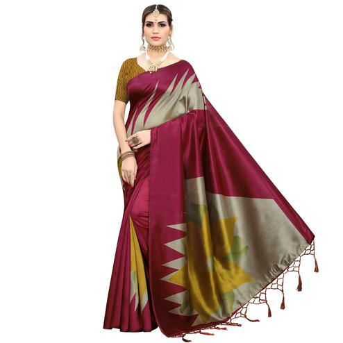 Desirable Maroon Colored Festive Wear Printed Art Silk Saree With Tassels