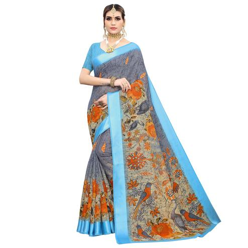 Exotic Grey Colored Casual Wear Printed Linen Saree