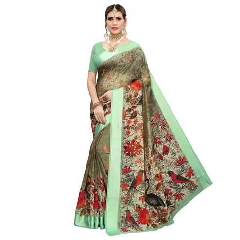 Trendy Green Colored Casual Wear Printed Linen Saree
