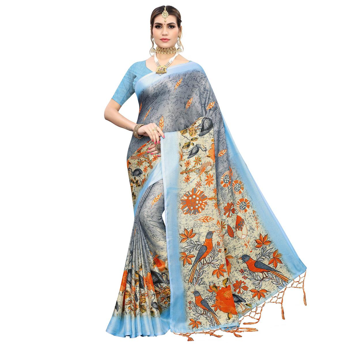 Elegant Grey Colored Casual Wear Printed Cotton Saree With Tassels