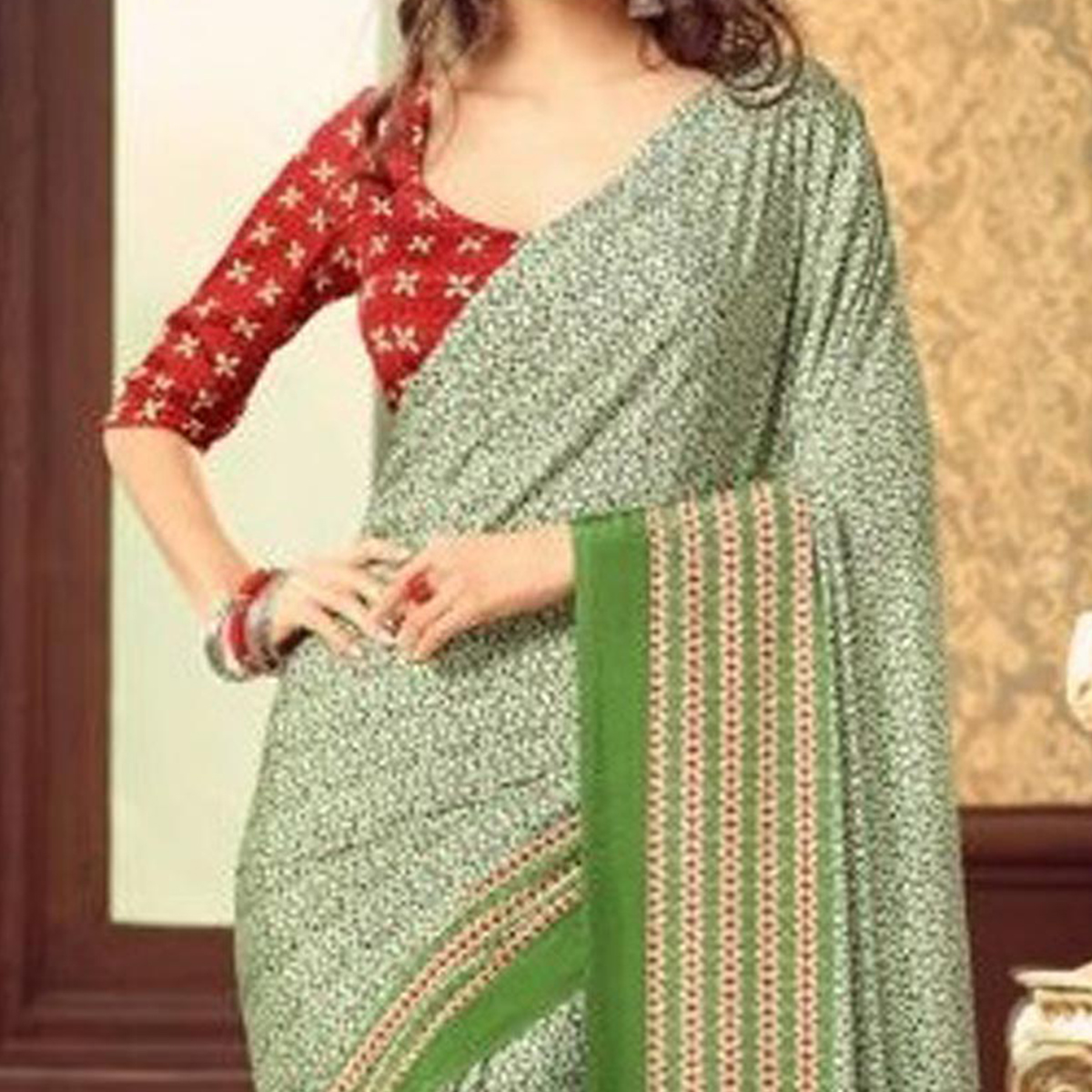 Green Casual Wear Crepe Saree