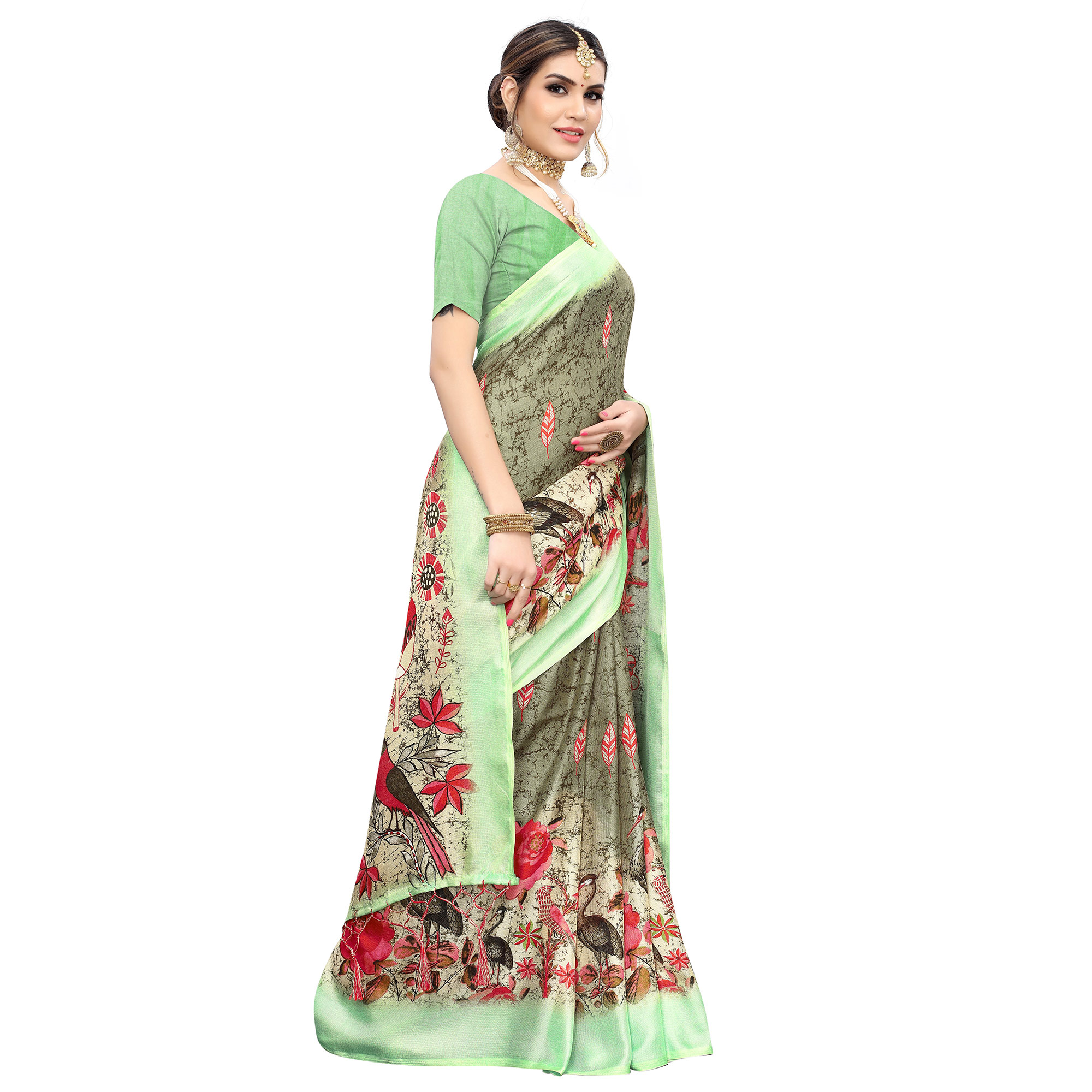 Radiant Green Colored Casual Wear Printed Cotton Saree With Tassels