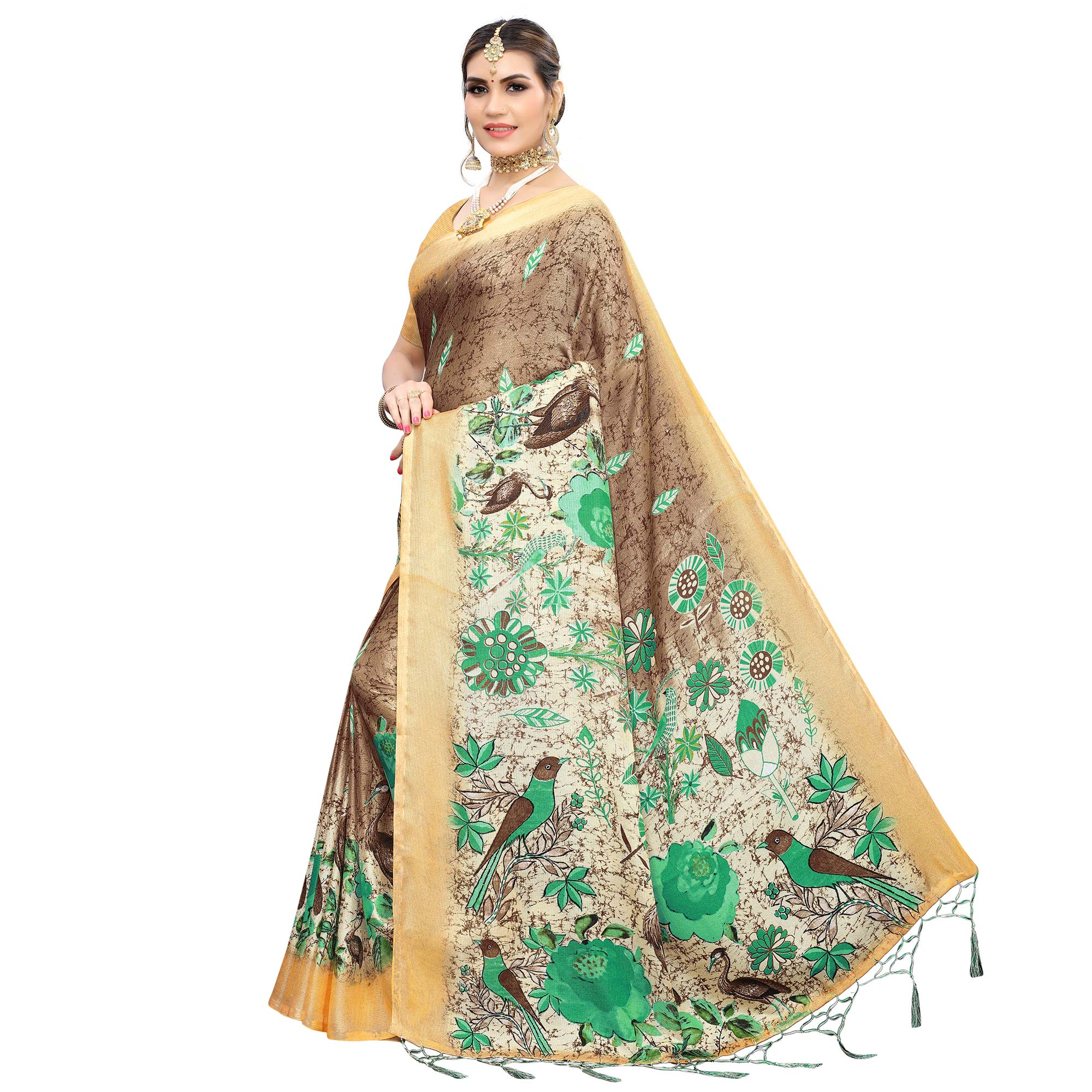 Pleasant Brown Colored Casual Wear Printed Cotton Saree With Tassels