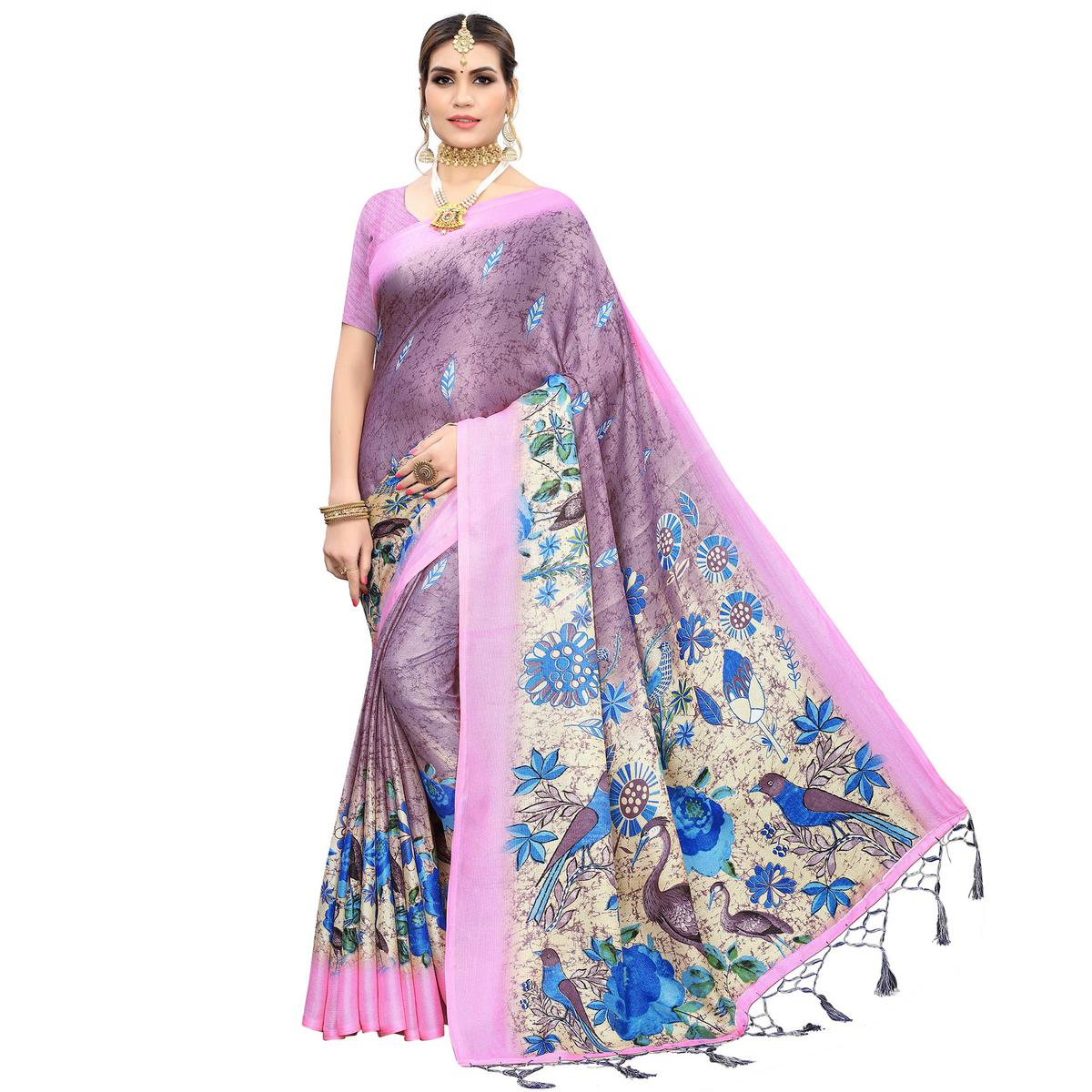 Opulent Purple Colored Casual Wear Printed Cotton Saree With Tassels