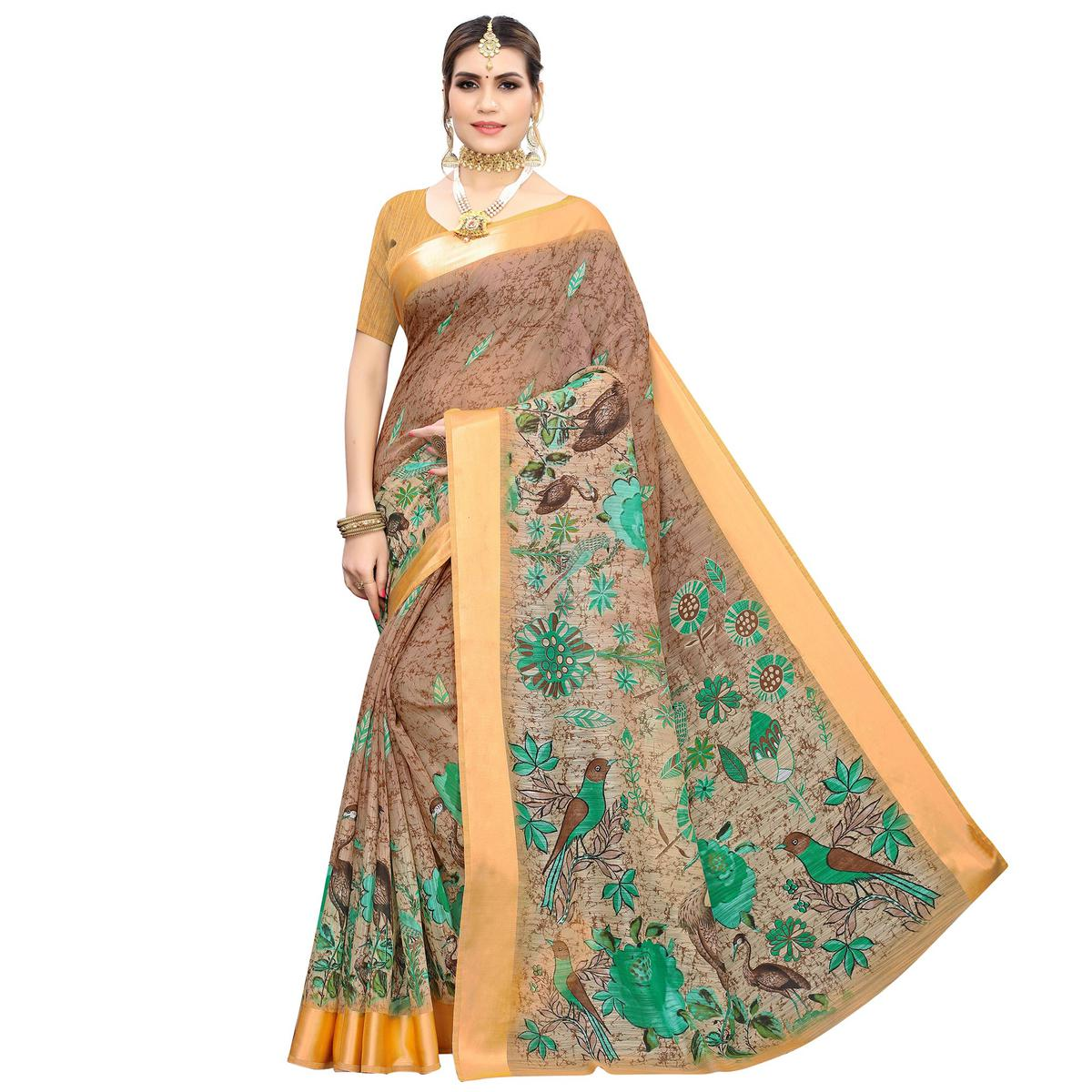 Energetic Brown Colored Casual Wear Printed Linen Saree