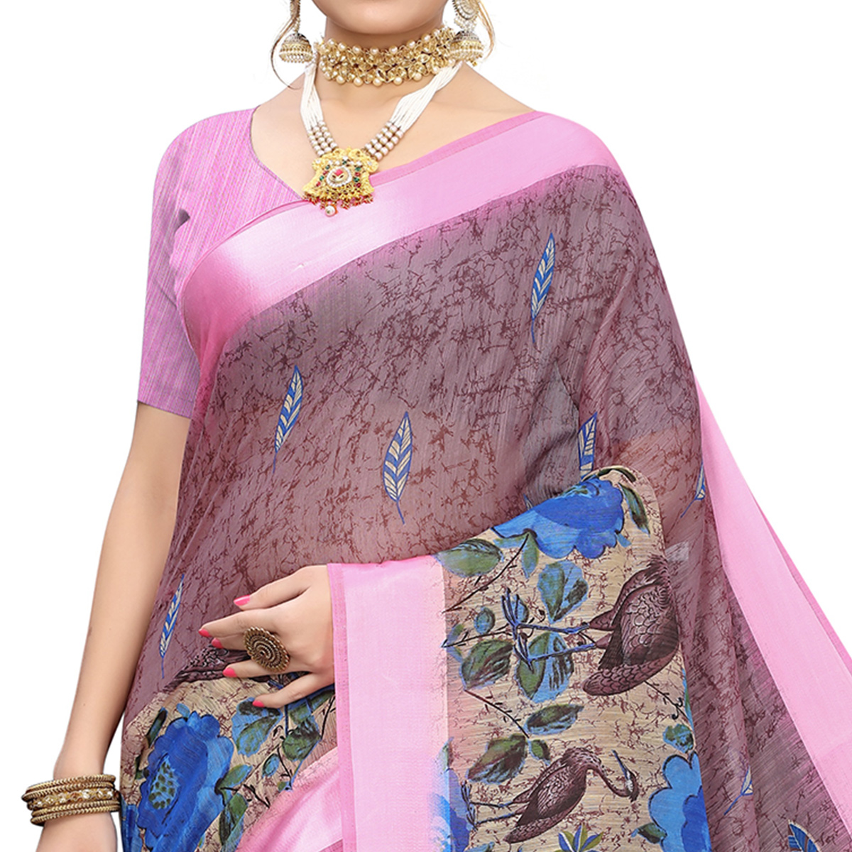 Glowing Purple Colored Casual Wear Printed Linen Saree