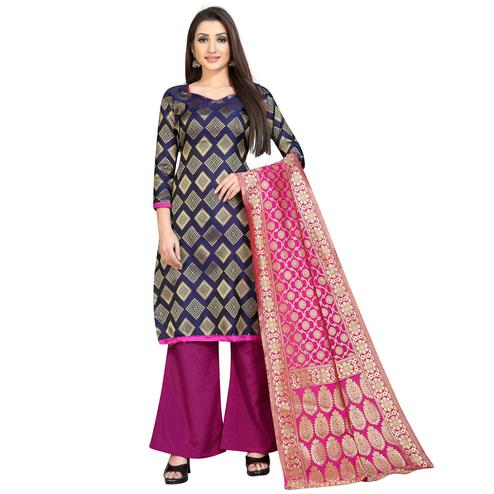 Glorious Navy Blue Colored Festive Wear Woven Banarasi Silk Dress Material