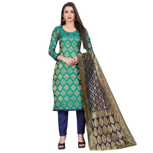 Attractive Rama Green Colored Festive Wear Woven Banarasi Silk Dress Material