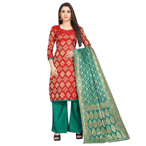 Beautiful Red Colored Festive Wear Woven Banarasi Silk Dress Material