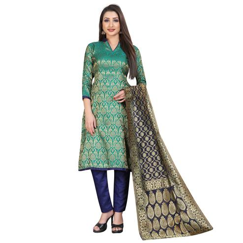 Charming Rama Green Colored Festive Wear Woven Banarasi Silk Dress Material