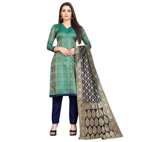 Arresting Rama Green Colored Festive Wear Woven Banarasi Silk Dress Material