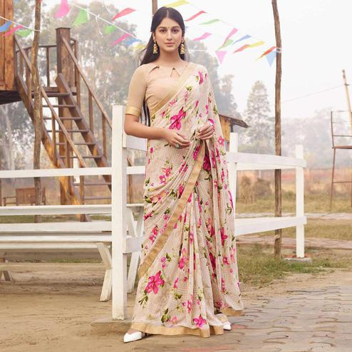 Magnetic Beige Colored Casual Floral Printed Georgette Saree