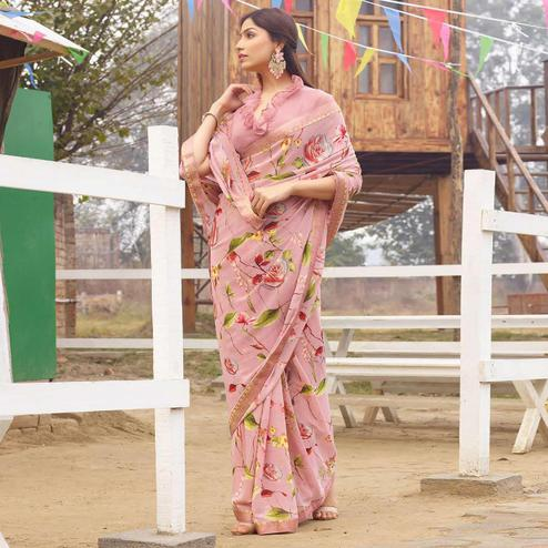 Flattering Pink Colored Casual Floral Printed Georgette Saree
