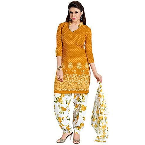 Yellow Printed Cotton Patiala Suit