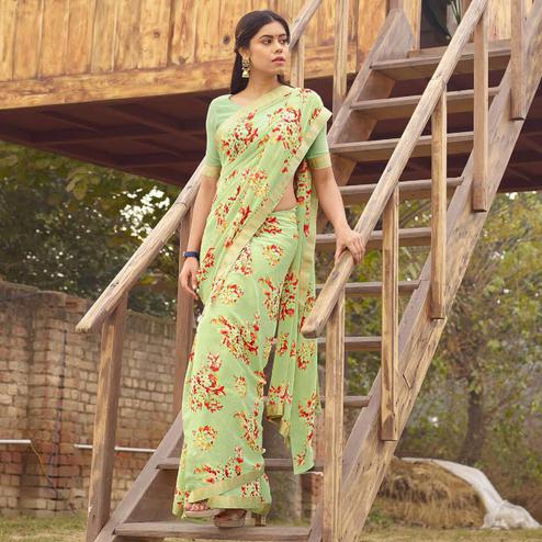 Excellent Green Colored Casual Floral Printed Georgette Saree