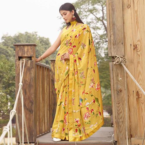 Marvellous Yellow Colored Casual Floral Printed Georgette Saree