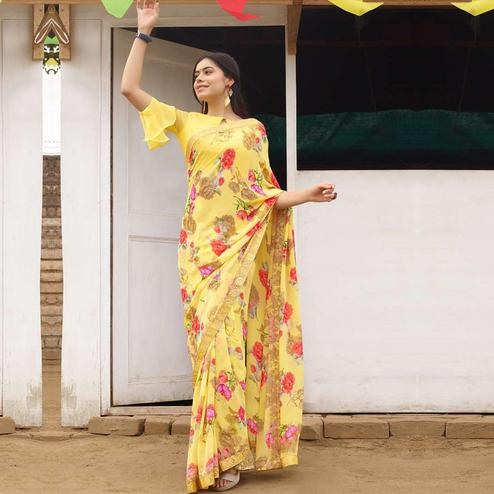 Pretty Yellow Colored Casual Floral Printed Georgette Saree