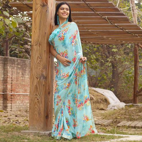 Flaunt Sky Blue Colored Casual Floral Printed Georgette Saree