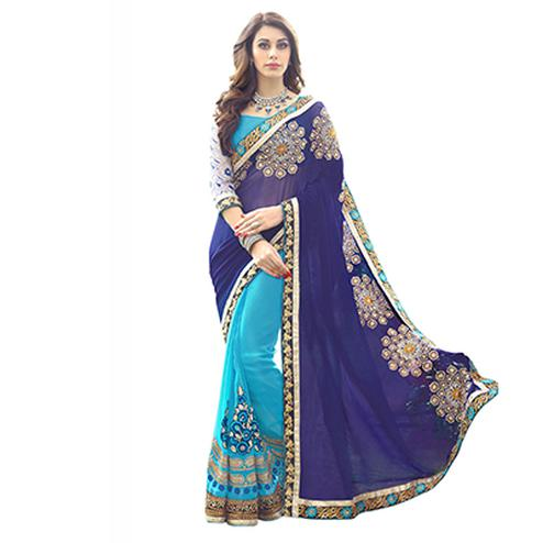 Blue Party Wear Half & Half Saree