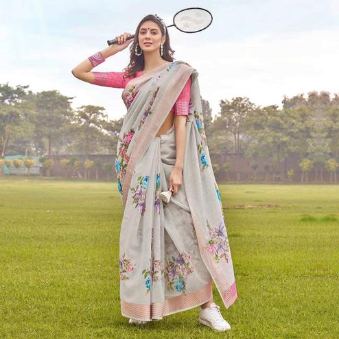 Arresting Grey Colored Casual Wear Floral Printed Linen-Cotton Saree
