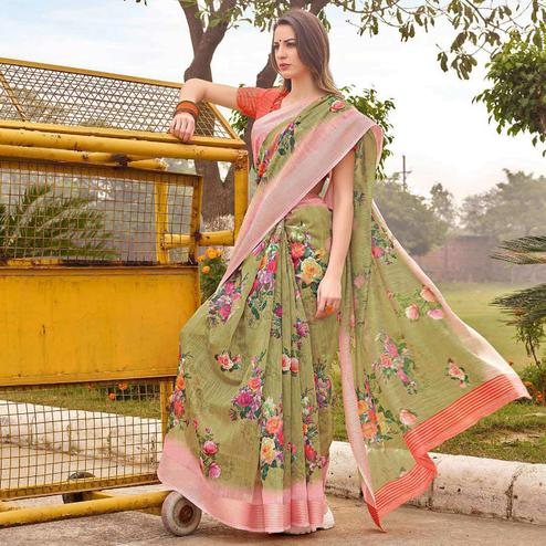 Desirable Olive Green Colored Casual Wear Floral Printed Linen-Cotton Saree