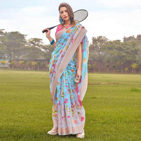 Trendy Sky Blue Colored Casual Wear Floral Printed Linen-Cotton Saree