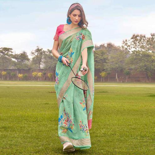 Radiant Green Colored Casual Wear Floral Printed Linen-Cotton Saree