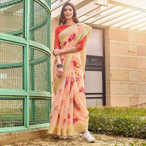 Pleasant Peach Colored Casual Wear Floral Printed Linen-Cotton Saree
