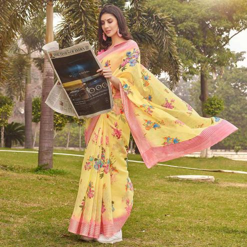 Opulent Yellow Colored Casual Wear Floral Printed Linen-Cotton Saree