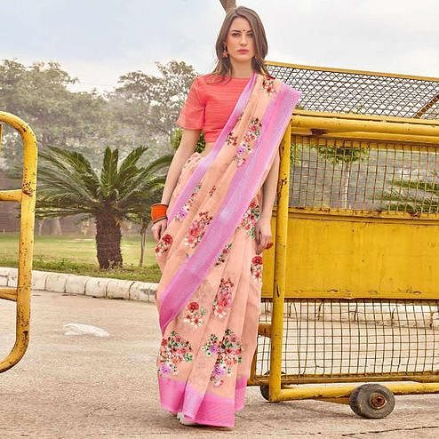 Energetic Peach Colored Casual Wear Floral Printed Linen-Cotton Saree