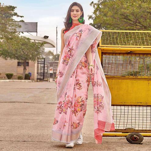 Glowing Pink Colored Casual Wear Floral Printed Linen-Cotton Saree
