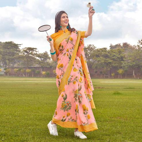 Gleaming Pink Colored Casual Wear Floral Printed Linen-Cotton Saree