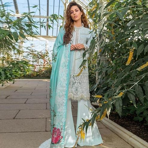 Mesmeric Light Blue Colored Partywear Chikankari Embroidered Cotton Palazzo Suit