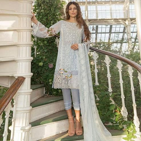 Demanding Grey Colored Partywear Chikankari Embroidered Cotton Pant Style Suit