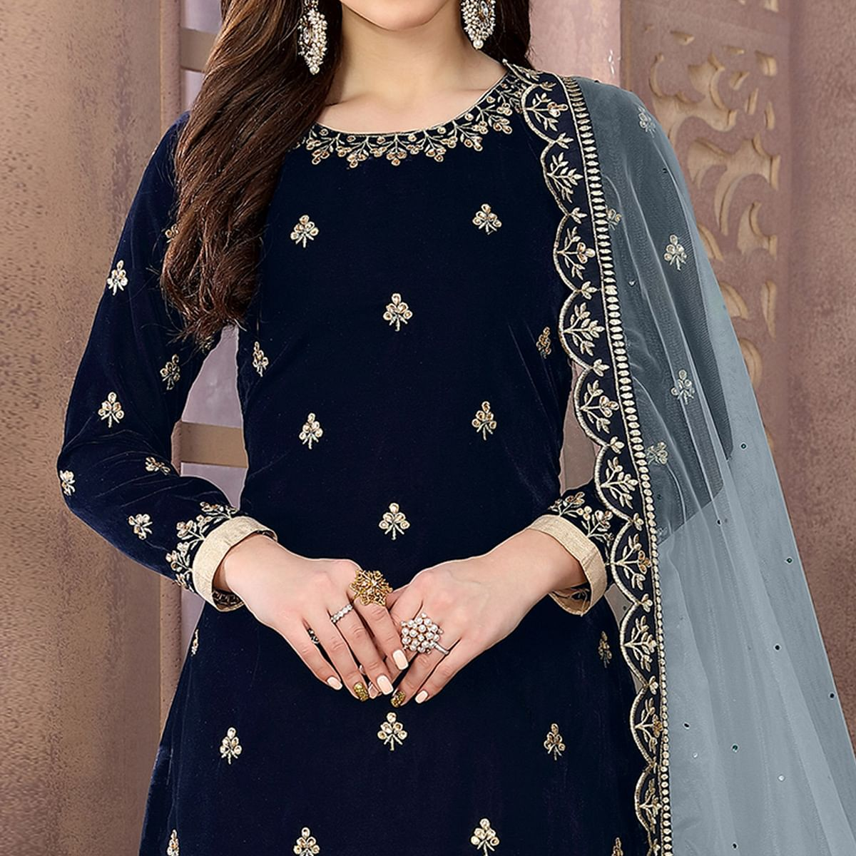 Energetic Navy Blue Colored Partywear Embroidered Velvet Patiala Suit
