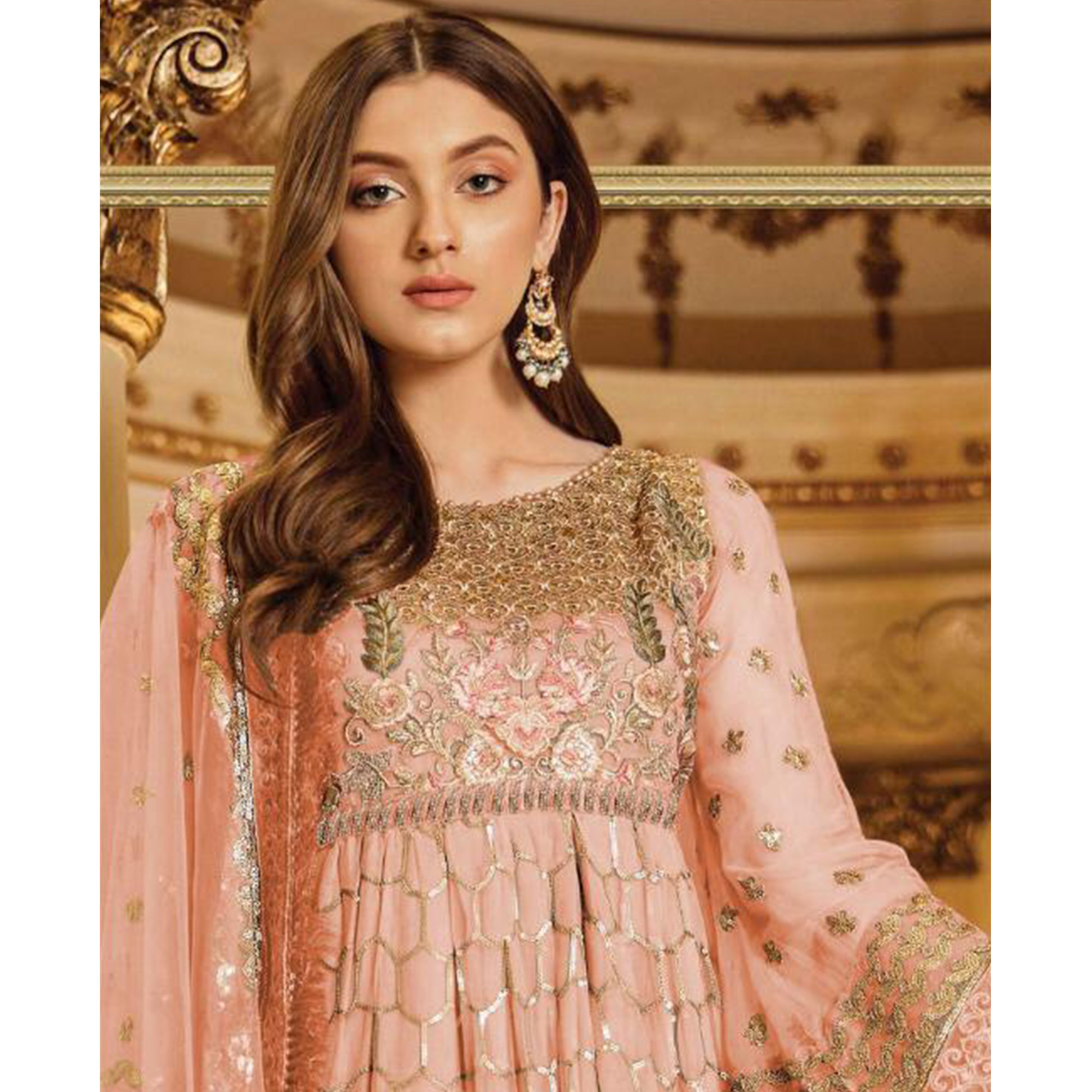 Radiant Peach Colored Party Wear Embroidered Georgette Palazzo Suit