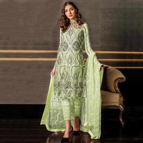 Pleasance Mint Green Colored Partywear Embroidered Netted Pant Style Suit
