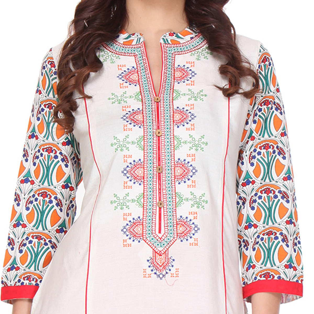 Off White Embroidered Stitched Kurti