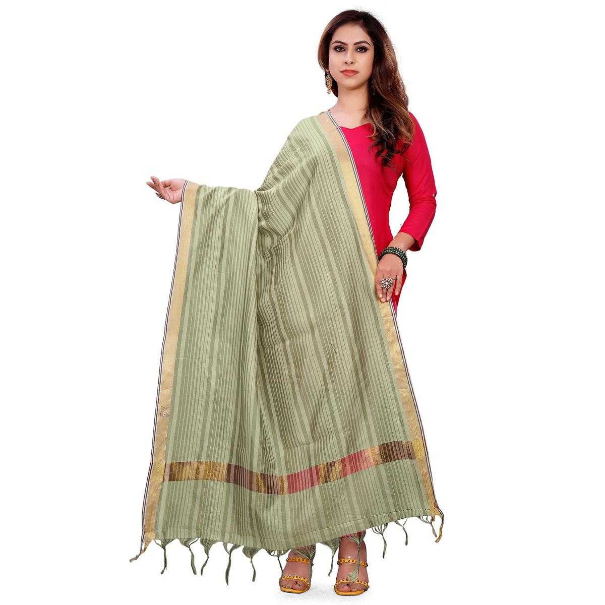 Adorable Light Olive Green Colored Festive Wear Woven Silk Blend Dupatta With Tassels