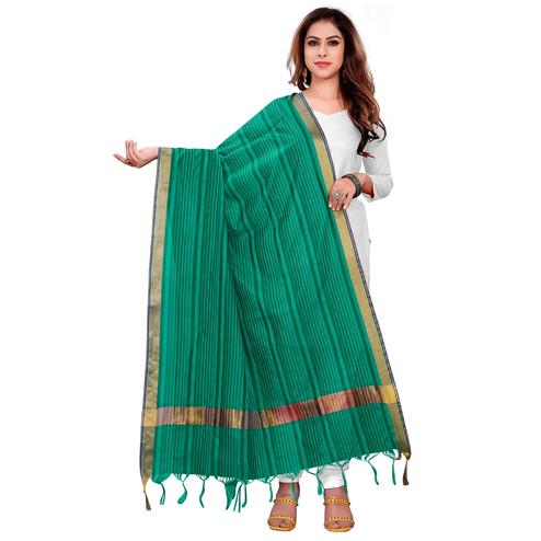 Glorious Ocean Green Colored Festive Wear Woven Silk Blend Dupatta With Tassels