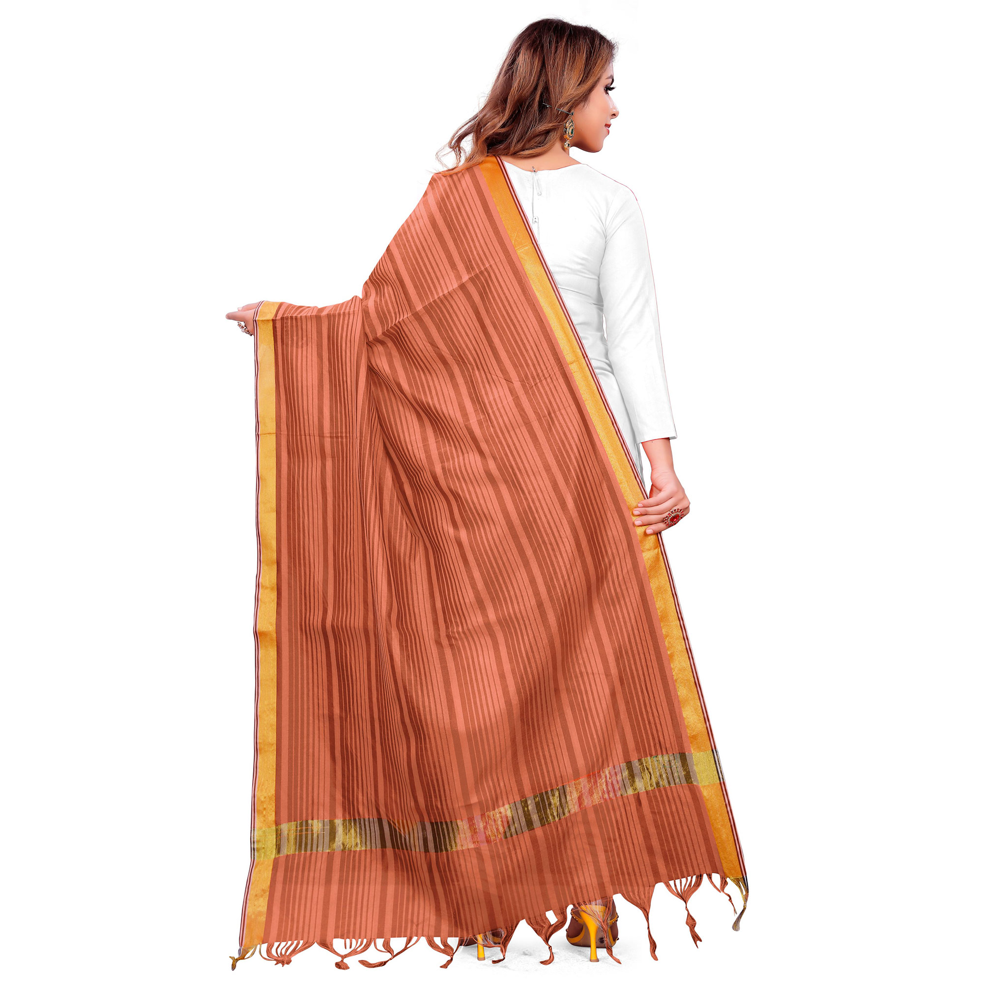Attractive Peach Colored Festive Wear Woven Silk Blend Dupatta With Tassels