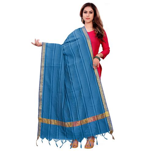 Beautiful Blue Colored Festive Wear Woven Silk Blend Dupatta With Tassels