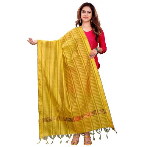 Graceful Yellow Colored Festive Wear Woven Silk Blend Dupatta With Tassels