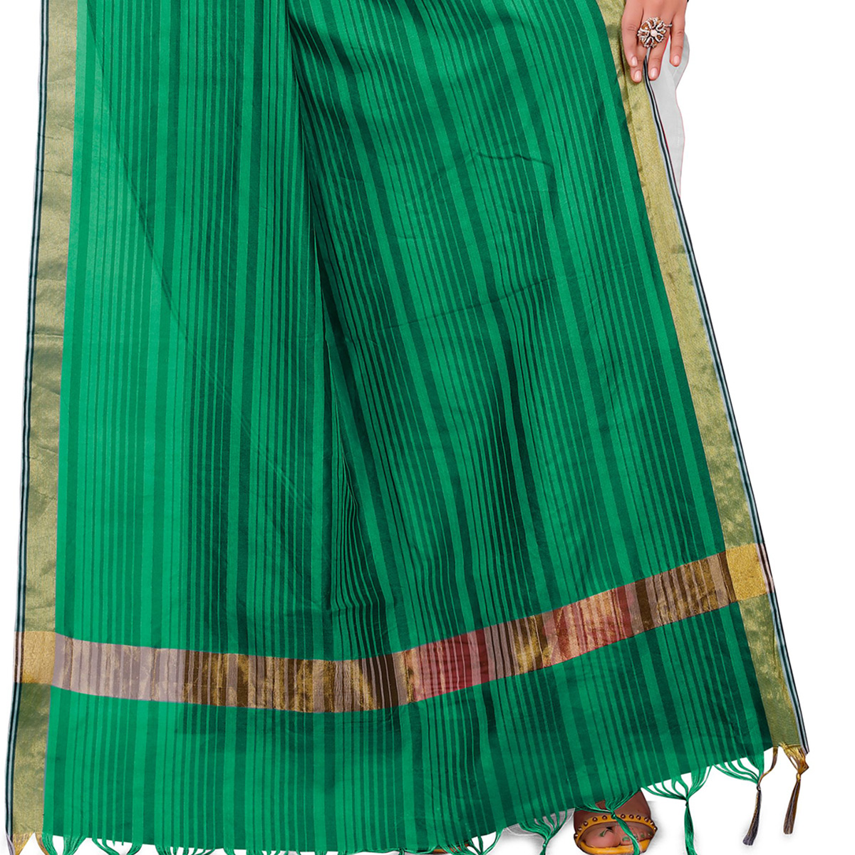 Blooming Green Colored Festive Wear Woven Silk Blend Dupatta With Tassels