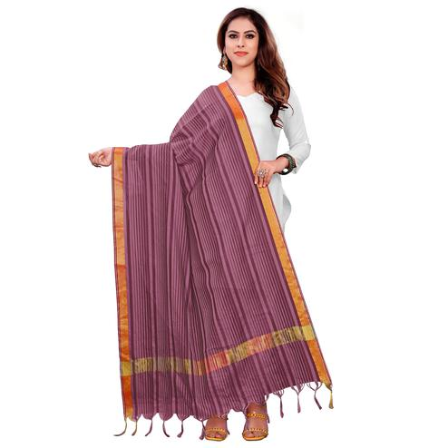 Charming Purple Colored Festive Wear Woven Silk Blend Dupatta With Tassels