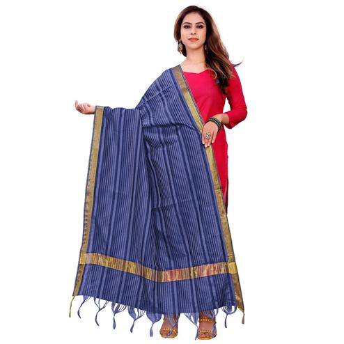 Delightful Navy Blue Colored Festive Wear Woven Silk Blend Dupatta With Tassels